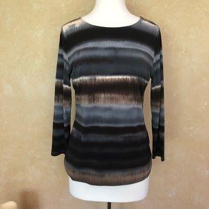 PROMISE multicolor stripe long sleeve blouse
